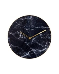 Nextime Wall Clock - Ø 40 Cm - Glass / Metal - Black - 'Marble'