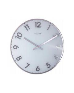 Nextime Wall Clock - Ø 43 Cm - Glass - White - 'Reflect'