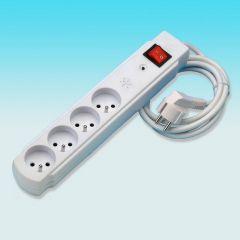 4 voudig stopcontact wit met beveiliging
