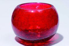 Glazen Theelicht 8X6Cm Rood Craquele