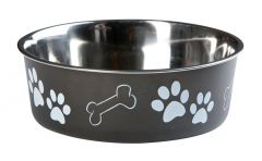 Hondenpot inox bella 21 cm zwart