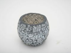 K East Star Glass Mosaic Candle Holder Grey D8 H7