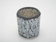 K East Star Glass Mosaic Candle Holder Grey D7.5 H8.5