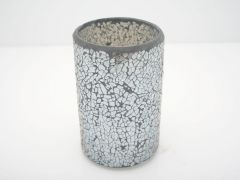 K East Star Glass Mosaic Candle Holder Grey D9.5 H15