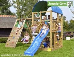 Jungle Gym Farm Toren + Klim Module + Glijbaan Blauw 265Cm