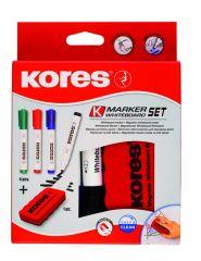 Kores Whiteboard Marker Set 4St Ronde Punt + Magnetische Witbordwisser