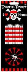 Piraten Kaarsjes Rood/Zwart + Houder 12 Stuks