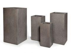Clayfibre kubus hoog bloempot Taupe W28H60