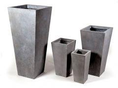 Clayfibre vierkante hoge vaas AuthGrey W24H46