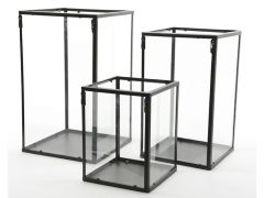 Windlicht Metaal Glas 24X24X40.5Cm Zwart