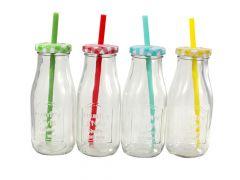 Fles Glas Met Rietje 300Ml Per Stuk