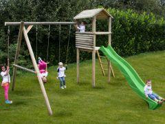 Houten speelhuis met schommel zonder glijbaan - 150cm