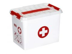 Q-Line First Aid Box 9L Met Inzet Wit/Transp/Rood