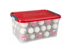 Curver Christmasbox 50L Transparant/Deksel Rood