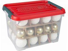 Curver Christmasbox 20L Transparant/Deksel Rood