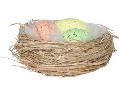 Nest Met Gekleurde Eieren D10Cm
