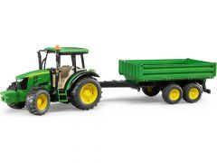 Bruder 02108 John Deere tractor met aanhangwagen