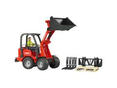 Bruder 02191 Schäffer tractor met voorlader met figuur en accessoires