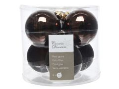 K Glass Mach.Baubles Shiny-Matt Dark Chocolate Dia8Cm
