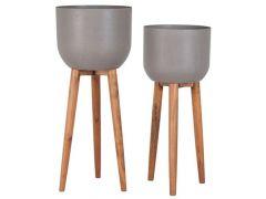 Sandstone/Accacia Wood Pot Op Voet D40Cm H56,5Cm