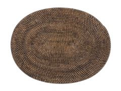 Placemat Rattan Ovaal Donkerbruin