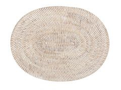 Placemat Rattan Ovaal Wit