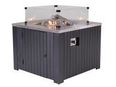 Cozy Living Sfeerhaard Faro Carbon Black Aluminium 60X60Cm Inclusief Glaswandenset
