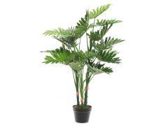 Philodendron Plastic Pot 3 Stelen - 22 Bladeren 100Cm Groen