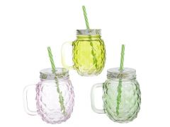Drinkglas Glas Deksel 8.5X12X13Cm 3Assortiment Prijs Per Stuk