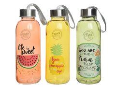 Drinkfles Glas Deksel Met Opdruk 420Ml Dia6.4X19Cm 3Assortiment Prijs Per Stuk