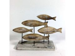 Wooden Fishes On Base Natural