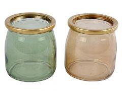 Sfeerlicht Glas Messing Rand D7X7.5Cm 2Assortiment Per Stuk