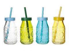 Flesje Gekleurd Glas D6Xh12Cm 4 Assortiment per stuk