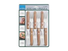 Steak Pizza Steakvork Natural Wood Set/6