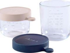 Beaba Koffertje 2 Glazen Bewaarpotjes 150Ml Rose/250Ml Donkerblauw