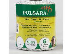 Pulsara Kunststof Draad 6 Rvs Geleiders, Wit, 500M
