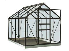 Serre Intro Grow - Ivy - 5,0M² Zwart Ral9005 Gehard Glas 3Mm - 1,93M X 2,57M X H1,21M/1,95M