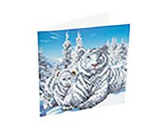 Rainbow Loom Crystal Card Kit Diamond Painting Snowy White Tigers