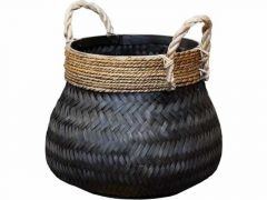 Basket Bamboo Black D37Xh32Cm