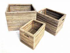 Storage Basket Stripe Grey Medium