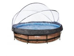 Exit Zwembad Rond Frame Pool D360X76Cm 12V – Timber Style + Overkapping