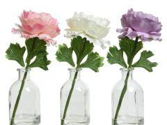Pes Ranunculi I Gl Vase 3Clas Assorted Dia10X20Cm