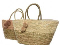 Sea Grass Bag W Pompom 2Cls Assorted 20X56X51Cm