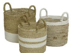 Seagrass Basket Stripes Natural/Colour(S) Dia38.5X45Cm