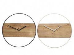 Iron Clock W Wood 2Col Ass Assorted Dia36X3.5Cm