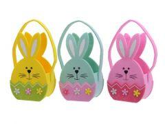 Felt Bunny Egg Basket 3Clas Assorted 6X11X22Cm