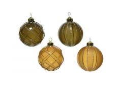 Kerstbal Glas Dennenappel D8Cm Wolwit