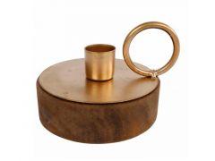 Kandelaar Rond On Wooden Basis Goud Metaal 11X11X8Cm