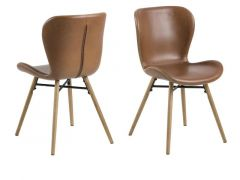 Batilda Dining Chair Leather Look Retro Brandy