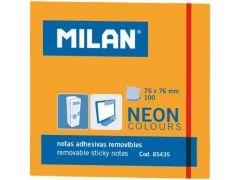 Milan Kleefblaadjes 100Blad 76X76Mm Neon Oranje